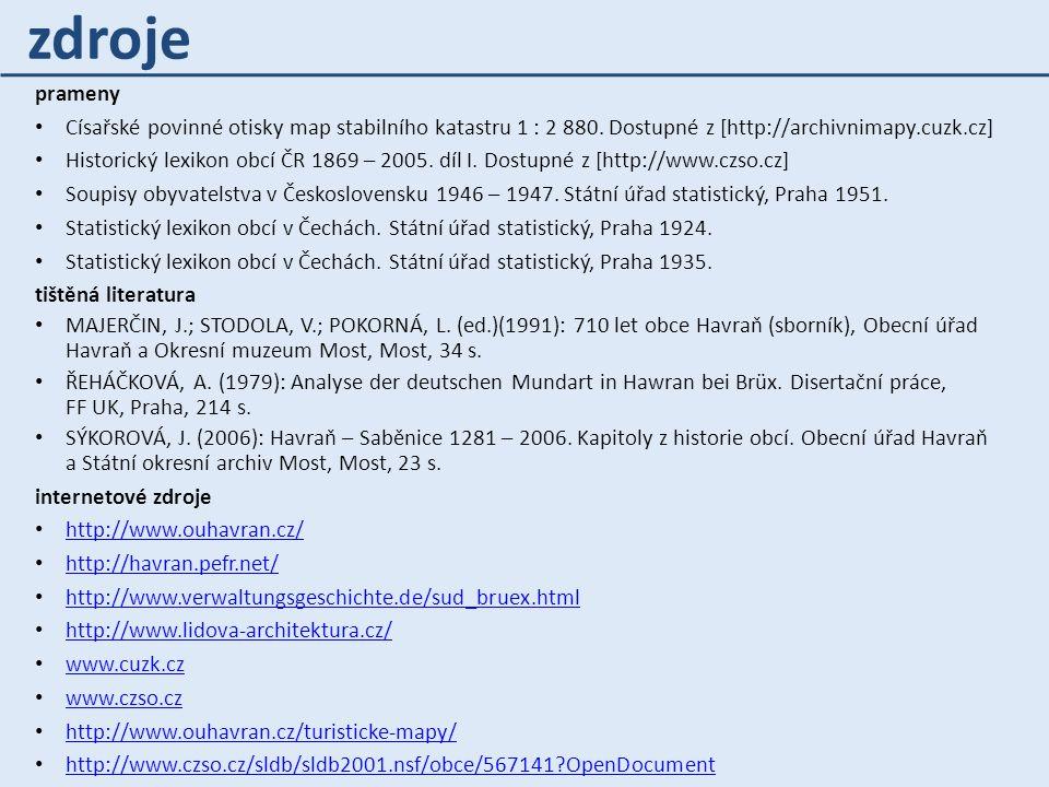 zdroje prameny. Císařské povinné otisky map stabilního katastru 1 : 2 880. Dostupné z [http://archivnimapy.cuzk.cz]